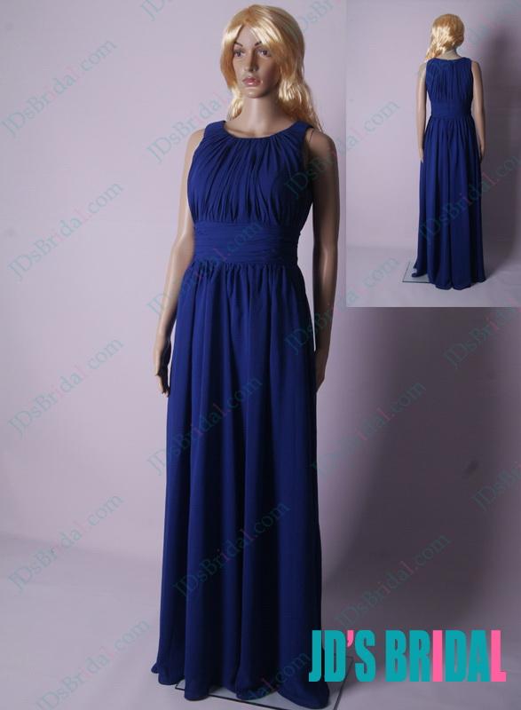 281c4c1b1de LJ178 royal blue scoop neck ruching details column chiffon prom dress