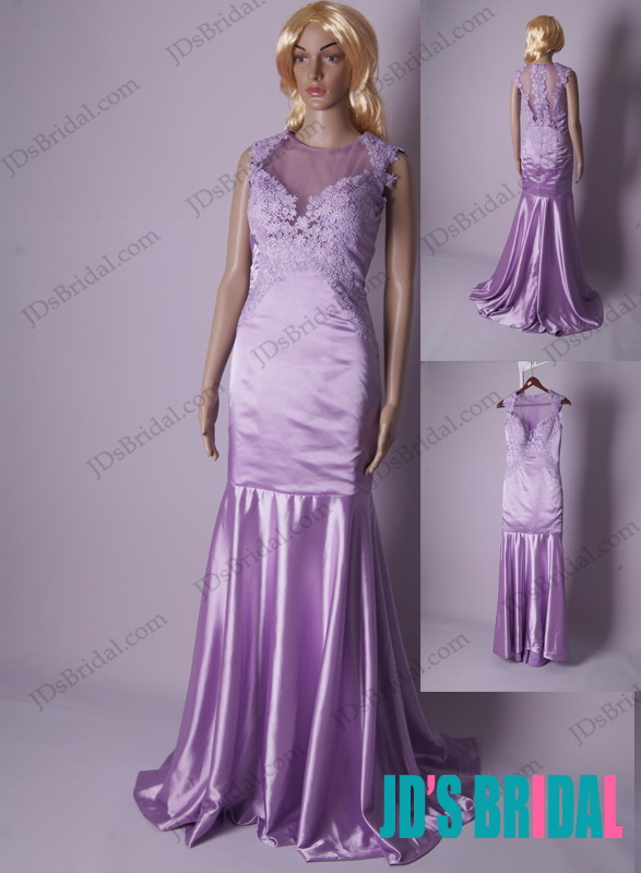 LJ179 lilac lanveder sheer illusion lace back mermaid prom dress