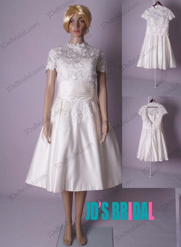 LJ180 retro inspired high neck short sleeved tea length wedding dress