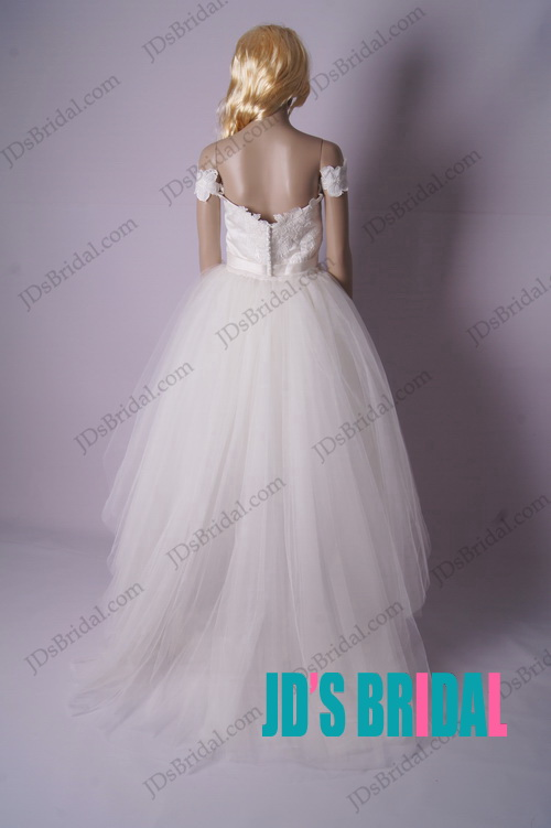 LJ181 vintage convertible off shoulder sheath tea length wedding dress