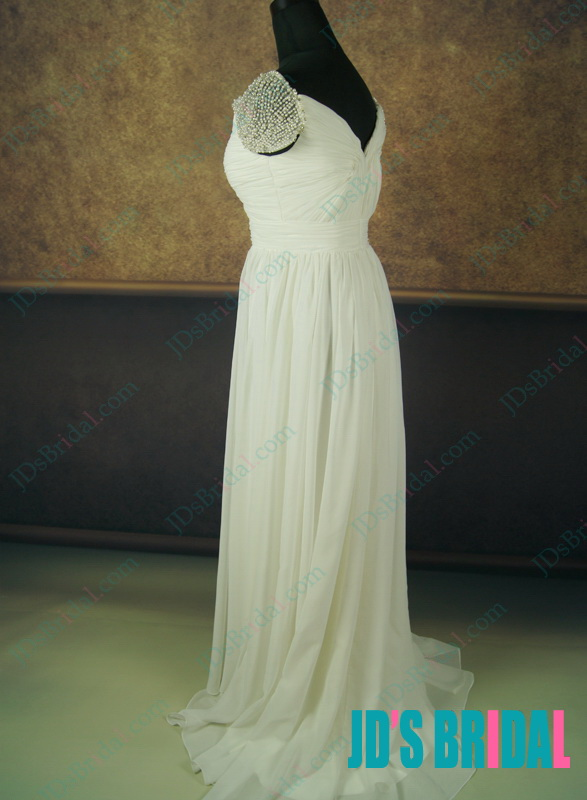 JC11047F Airy flowy summer chiffon destination wedding dress