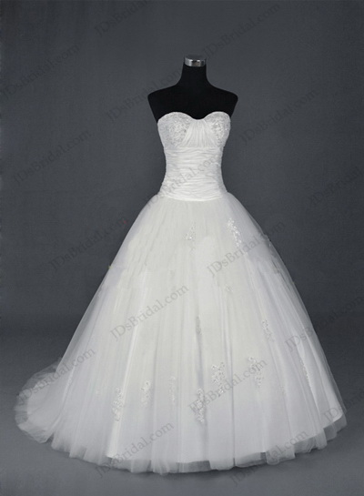JCD12010 Strapless full ball gown tulle wedding gowns [JCD12010]