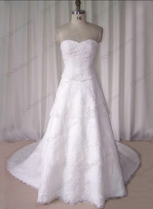 JCD12041 Sweetheart neck tiered lace wedding bridal dress