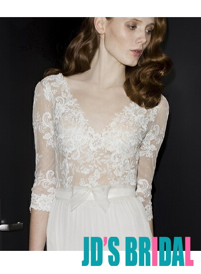 sexy illusion lace top bodice with 1/2 length sleeves 2014 new wedding bridal dress with flowy chiffon skirt