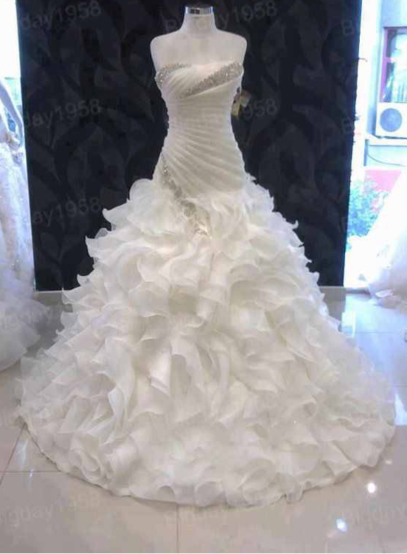 JOL214 custom strapless organza ruffles ball gown wedding dress :