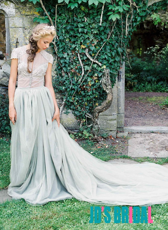 JOL215 Inspired vintage dusty blue tulle bridal wedding dress