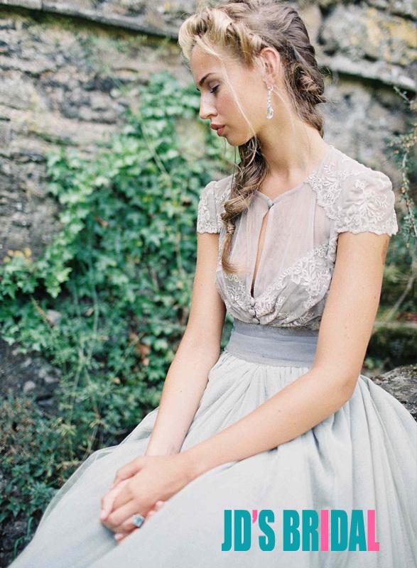 JOL215 Inspired vintage dusty blue tulle bridal wedding dress :