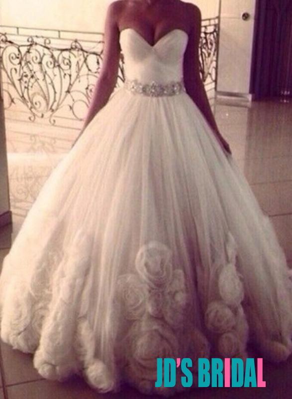 Jol217 Strapless Rosette Tulle Ball Gown Wedding Dress