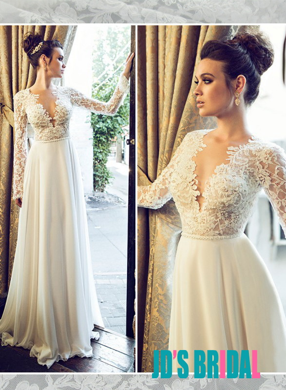 JOL222 sexy backless see through lace top long sleeves bridal dress