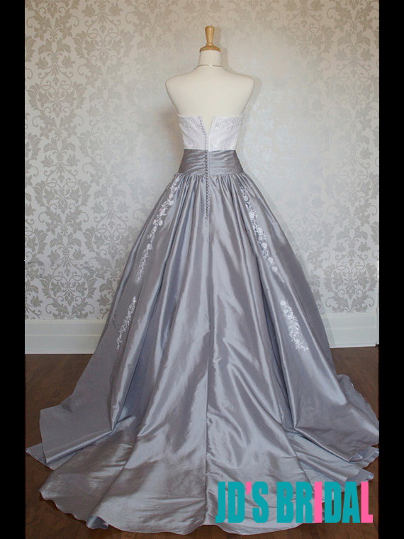 JOL225 retro vintage inspired white and gray ball gown wedding dress