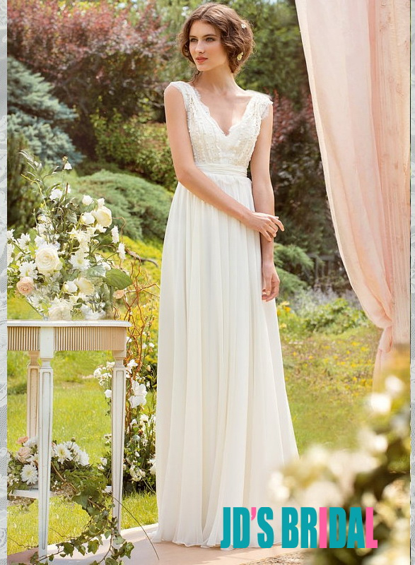 simple chic deep v neck lace strappy with flowy chiffon a line skirt wedding bridal dress 2014