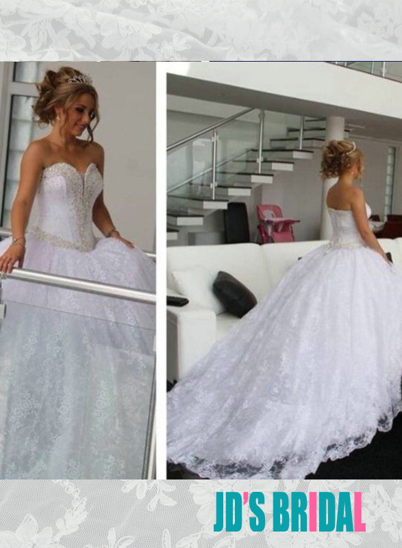 JOL236 beading trim sweetheart neck princess all lace ball gown wedding dress