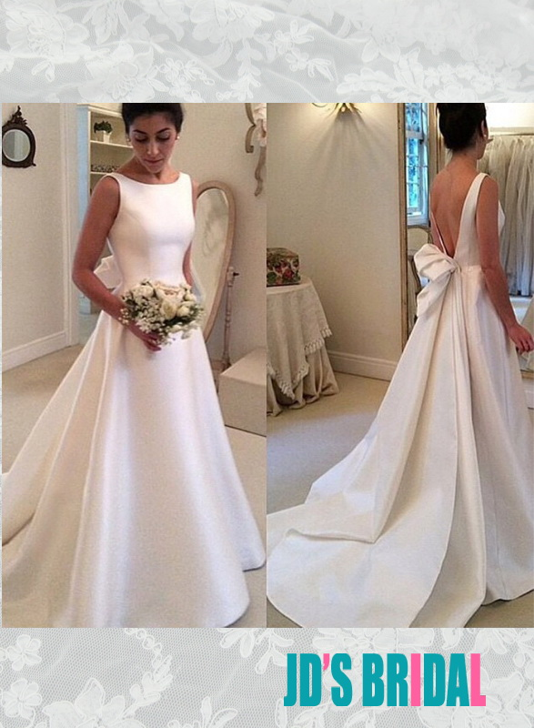 JOL239 simple bateau neck plain satin low back wedding bridal dress :