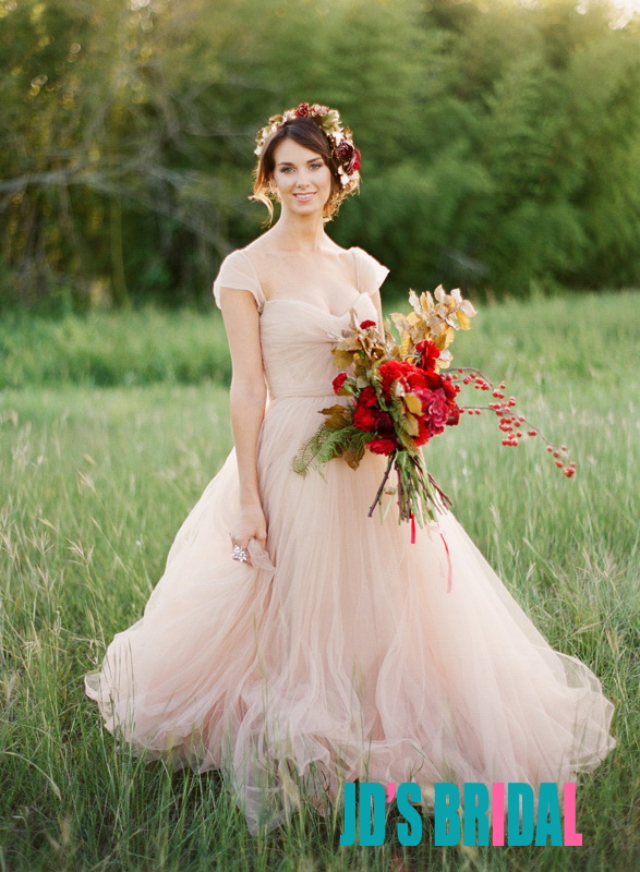 Jol240 Blush Pink Colored Cap Sleeves Flowy Tulle Wedding