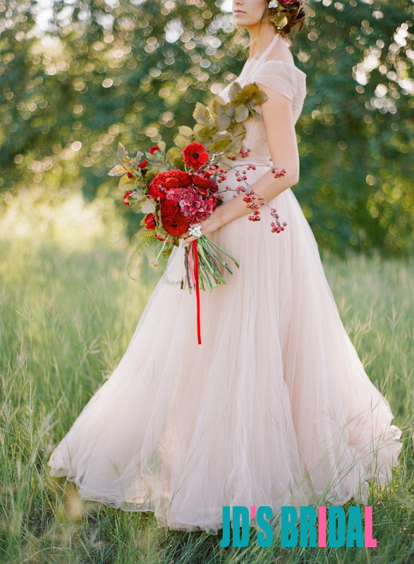 Jol240 blush pink colored cap sleeves flowy tulle wedding for Flowy wedding dresses with sleeves