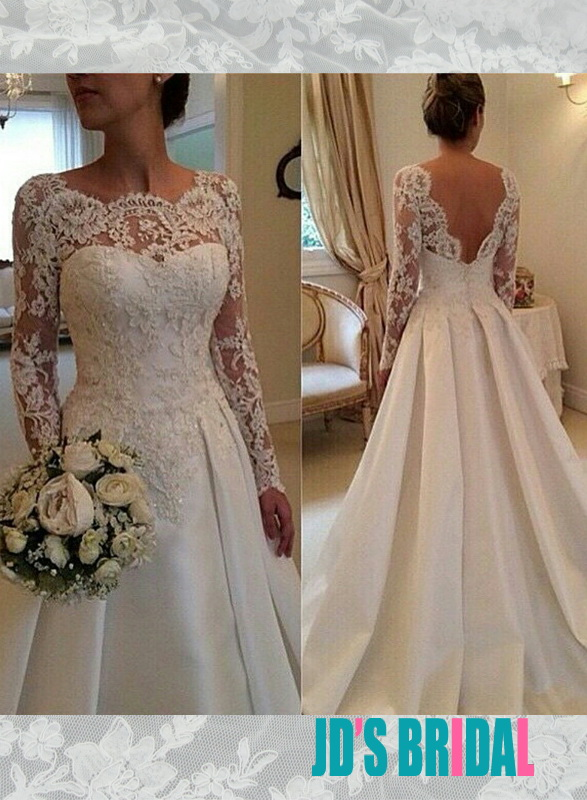 JOL256 Romance bateau neck lace low v back a line wedding dress