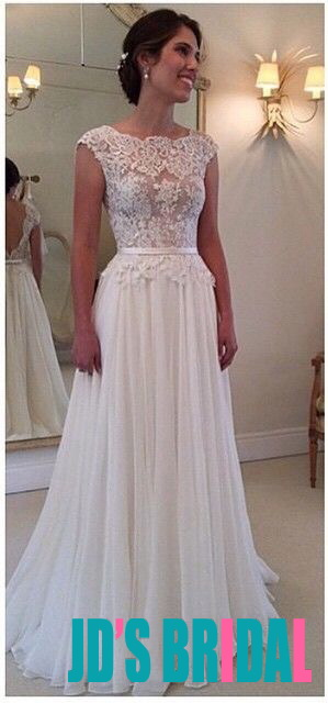 JOL257 Sexy semi sheer lace bodice bateau neck low v back chiffon wedding dress