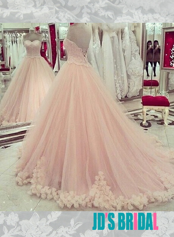 Jol258 Fairy Blush Pink Sweetheart Layers Tulle Skirt Ball Gown Wedding Dress