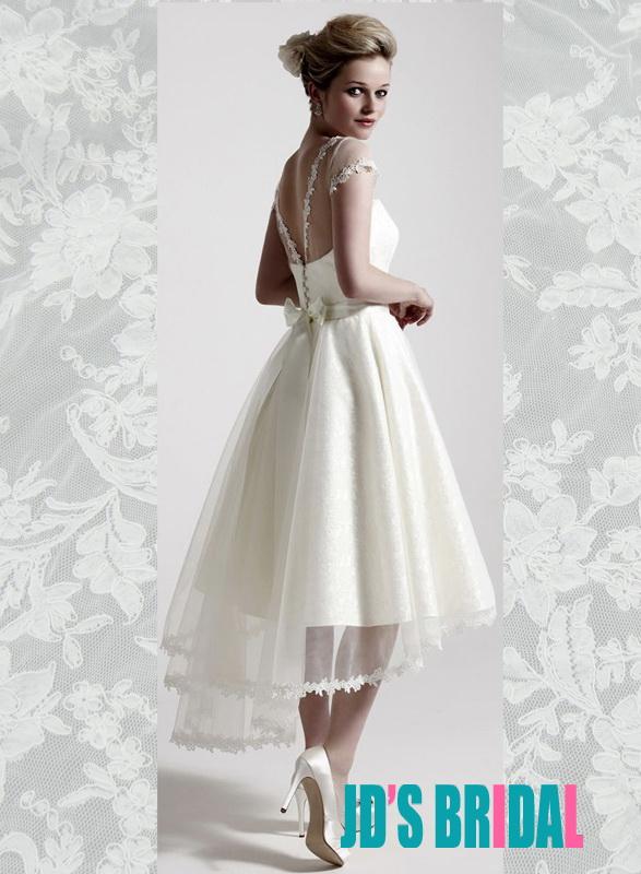 JOL291 Sheer bateau top v back high low short wedding dress :