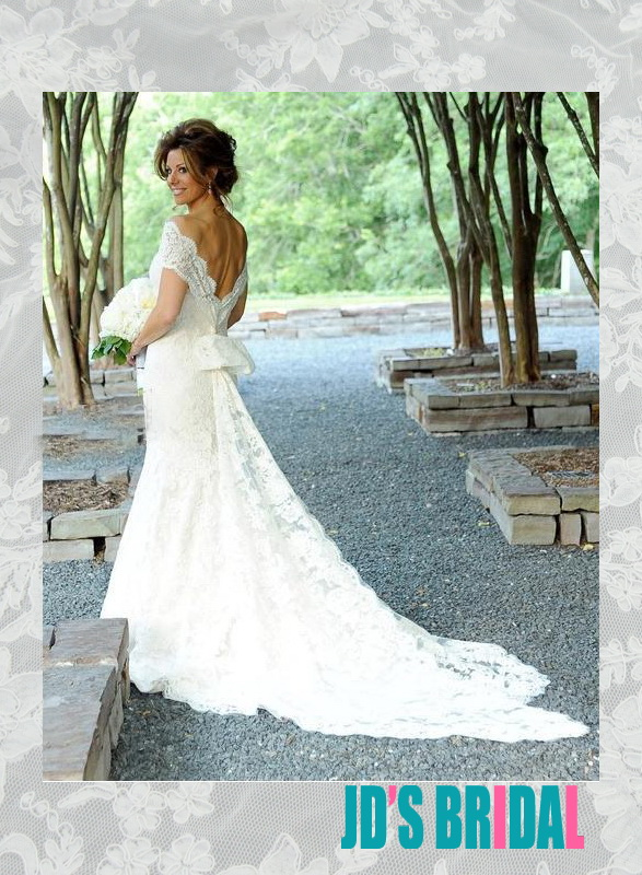 sexy deep v back off shoulder all lace mermaid wedding dress with bow train back