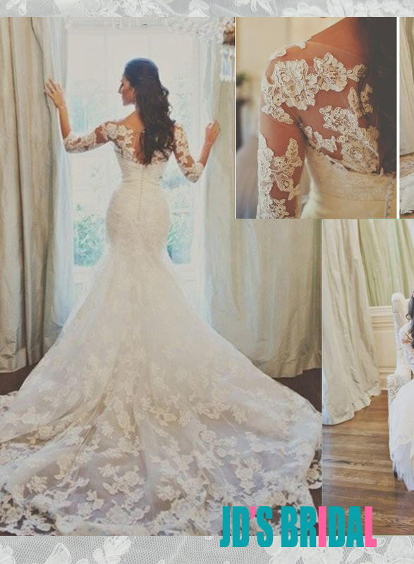 JOL296 Stunning illusion lace long sleeved mermaid wedding dress