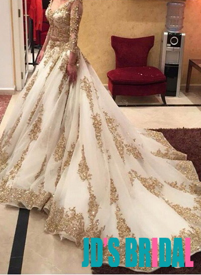 stunning top golden glitters sparkles 3/4 length sleeves lace organza ball gown wedding dress