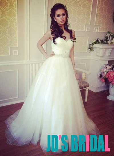 JOL315 Simple cheap sweetheart neck tulle ball gown wedding dress