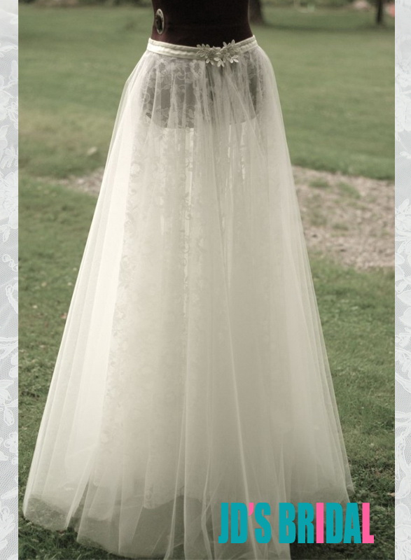JS403 soft tulle over lace long bridal wedding skirts