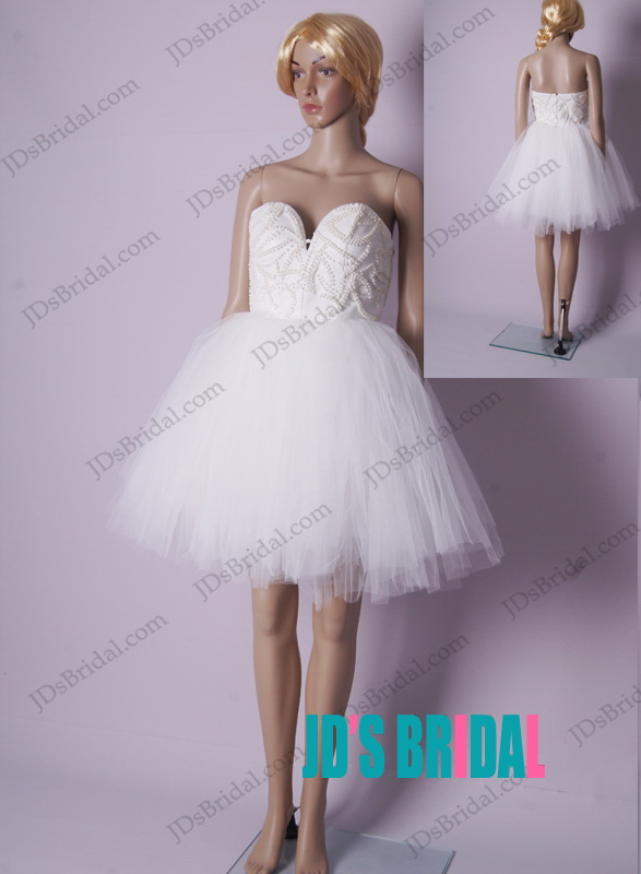 LJ182 sexy little white strapless mini short tulle party dress