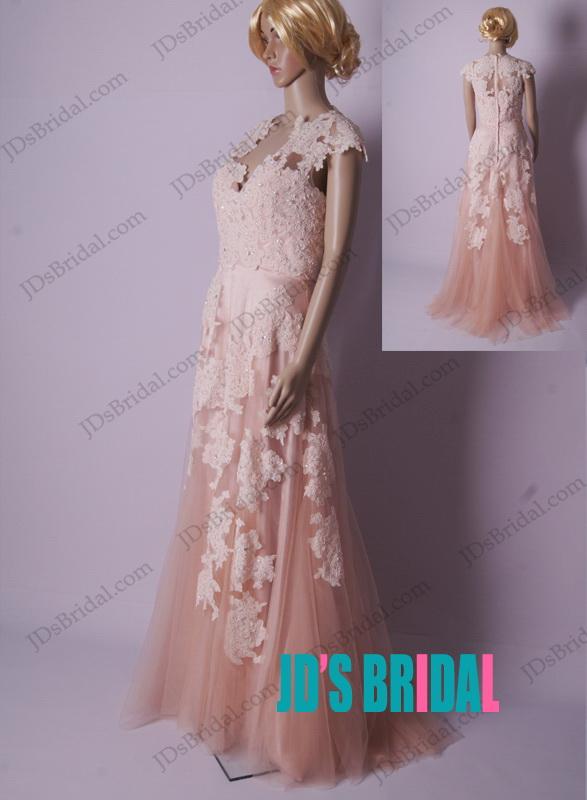 Lj183 inspired vintage blush colored lace cap sleeved for Blush vintage wedding dress