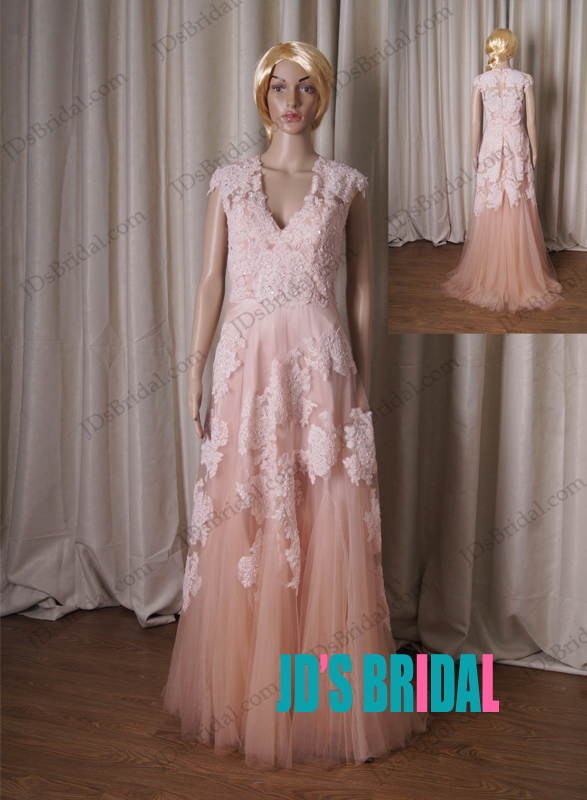 lj183b inspired vintage blush colored cap sleeved lace