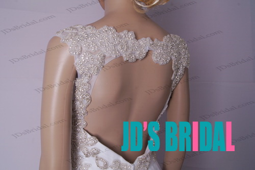LJ184 sexy open back sparkles crystals tiered tulle wedding dress
