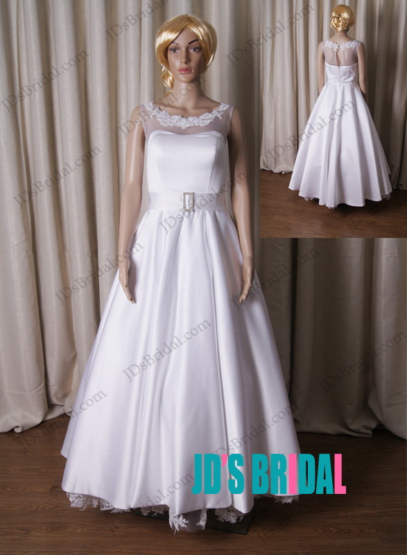 LJ187 1950s vintage inspired ankle length white wedding dress