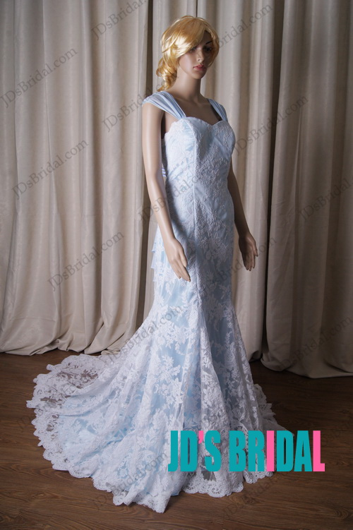 LJ188 vintage blue and white lace modified a line wedding dress