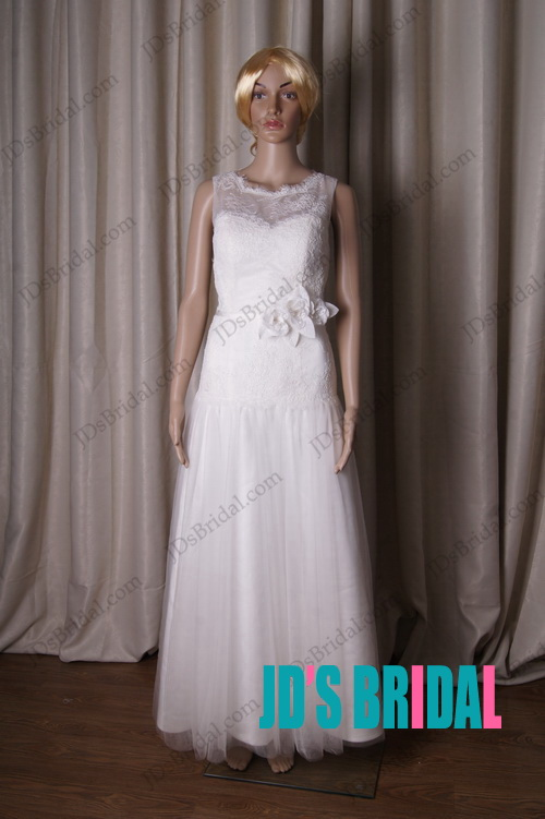 LJ189 soft illusion lace top floor length wedding dress