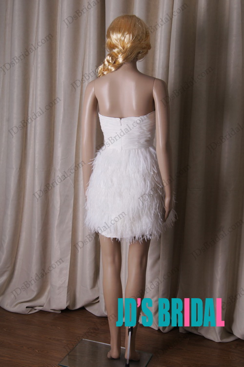 LJ190 little white short ostrich feathers party prom dress