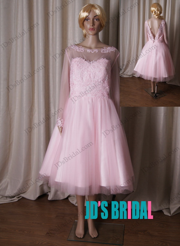 LJ191 sheer bateau neck long sleeved pink vintate short wedding dress