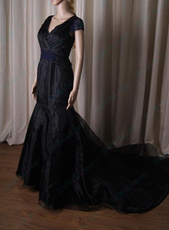 Lj201 Sexy Black And Navy Blue Illusion Lace V Back Mermaid Wedding