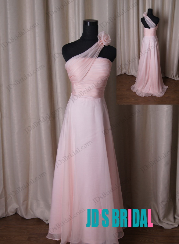 LJ203 Sipmle blush colored one shoulder chiffon bridesmaid dress