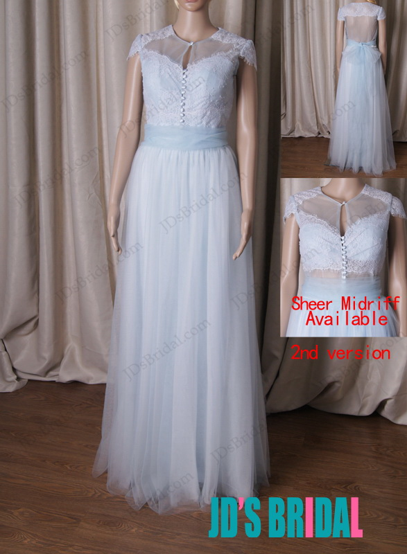 LJ204 Inspired vintage light blue sheer back tulle wedding dress