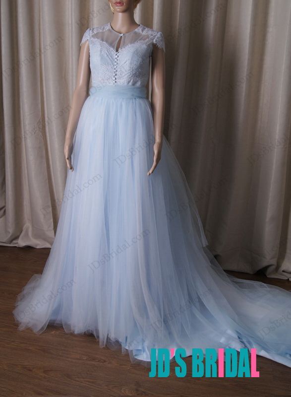 inspired vintaged blue colored sheer tulle back cap sleeved bridal wedding dress with cathedral long train