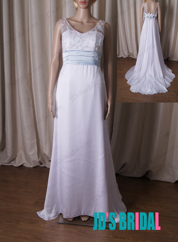 LJ206 simple chic strappy aline white with blue wedding dress