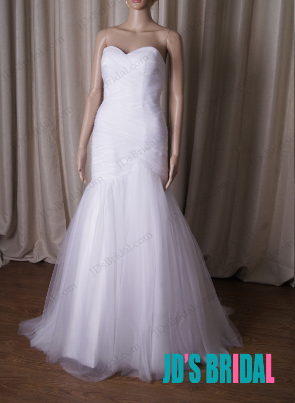 sexy sweetheart neckline strapless white mermaid tulle wedding dress with lace up corset back