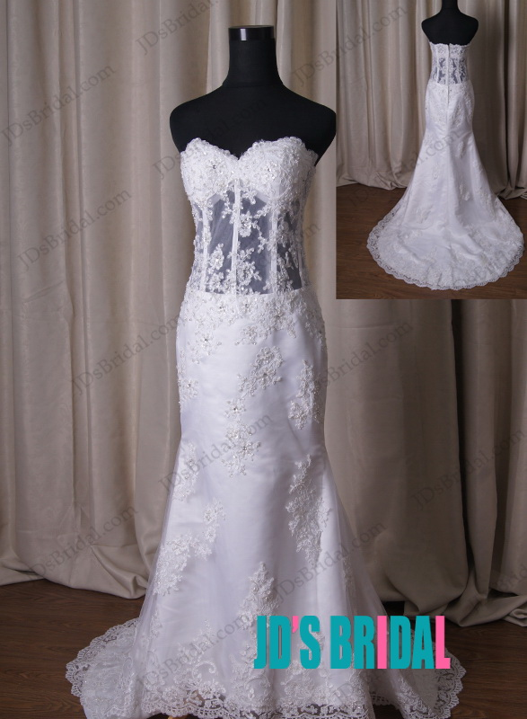 LJ209 sexy see through midriff lace mermaid wedding dress