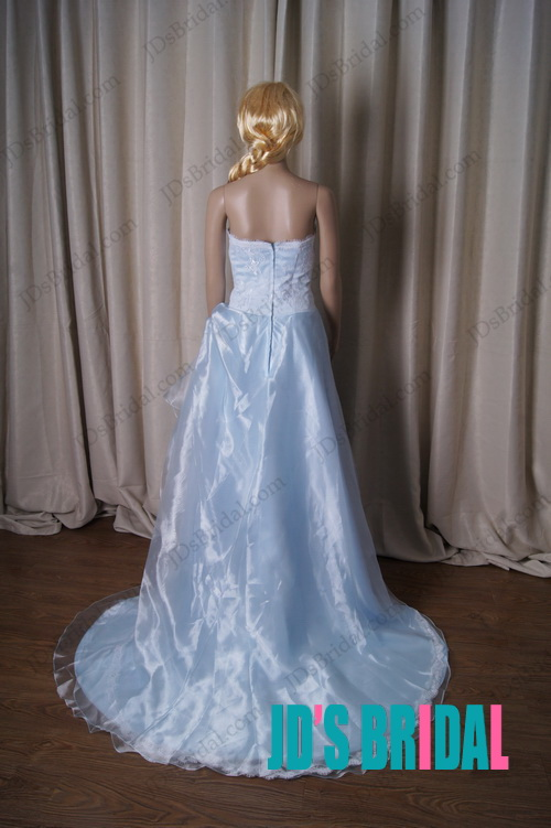 LJ210 blue colored lace sweetheart organza ball gown wedding dress