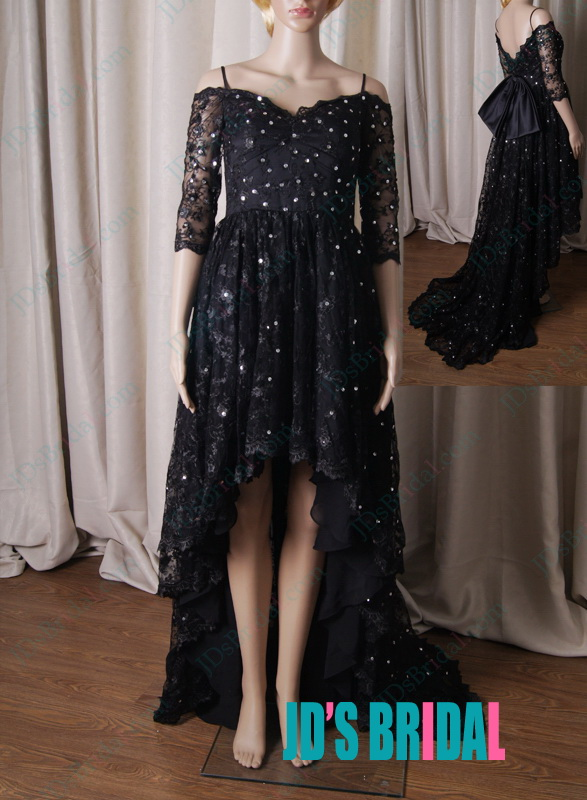LJ212 black lace off shoulder high low hem prom dress