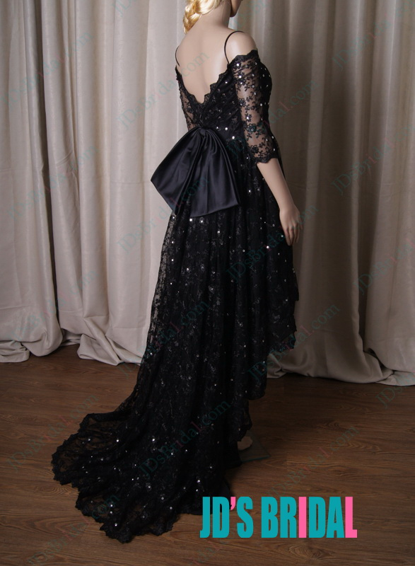 sexy black lace high low hem prom party dress with off shoulder 1/2 sleeves and v back