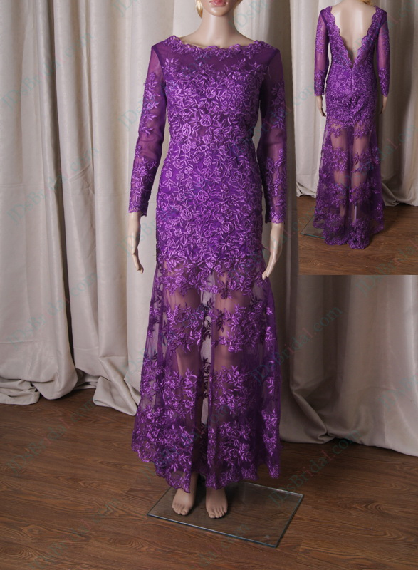 LJ213 sexy deep v back see through lace purple prom dress