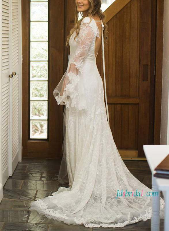 Lace Wedding Dress with Bell Sleeves
