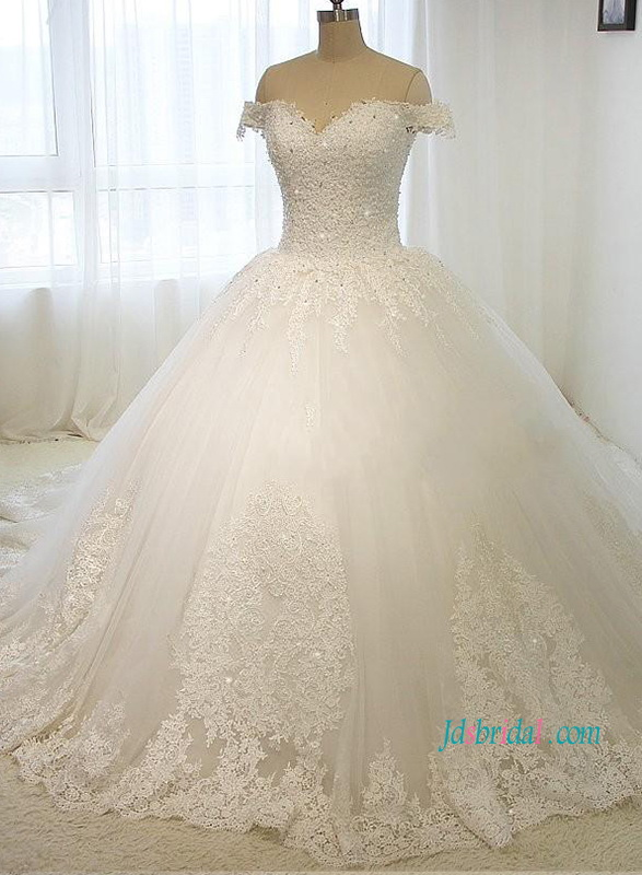 H1217 fairytale off the shoulder princess tulle ball gown for Fairytale ball gown wedding dresses